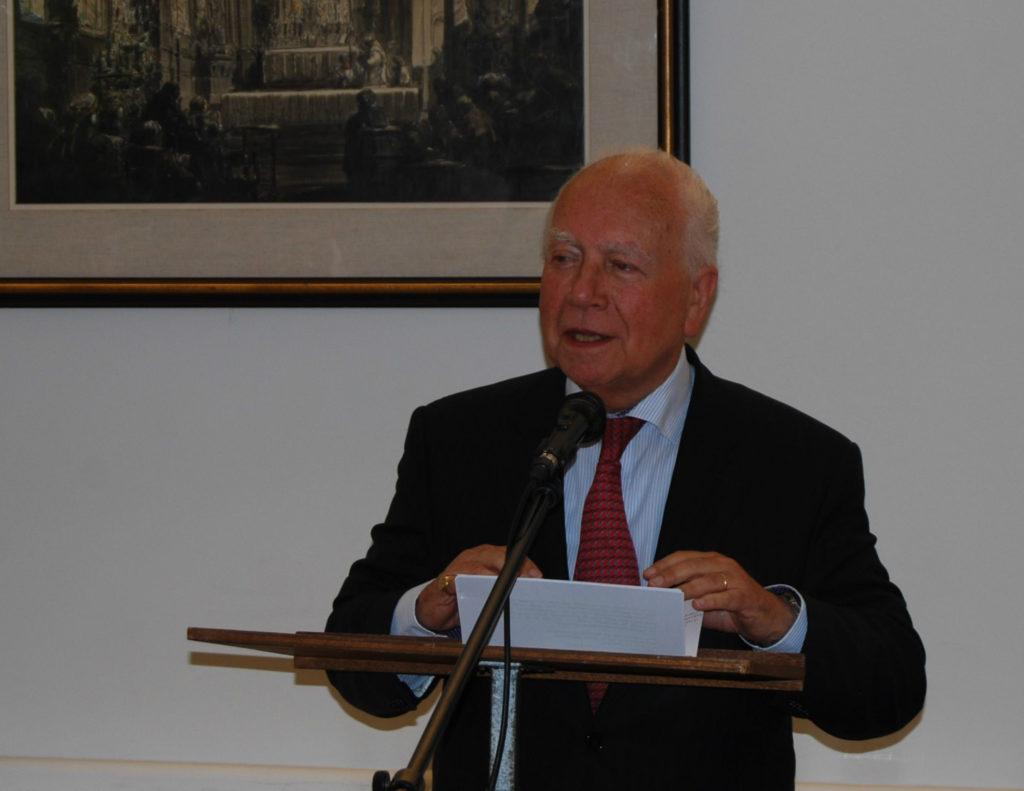 Minister van staat Mark Eyskens aan het woord